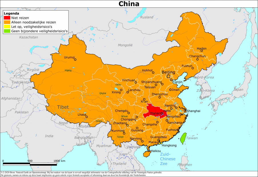 Reisadvies voor China in verband met het coronavirus