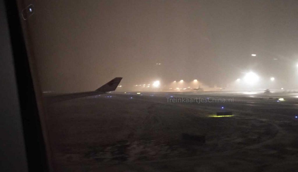 Smog op het vliegveld in Harbin China